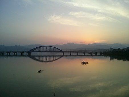 River, Bridge, Glow, Sky, Arch, Chuncheon, Soyang River