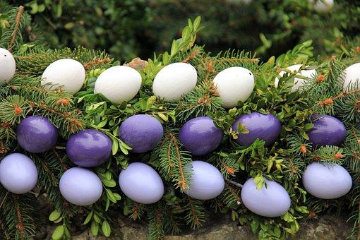 Easter, Easter Egg, Fountain, Wreath, Easter Well