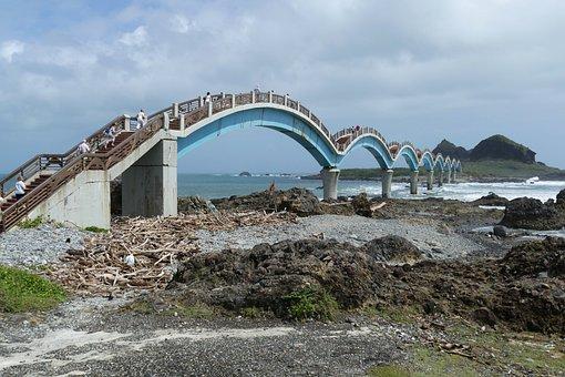 Bridge, Taiwan, Sanxiantai, Sea, Pacific, Ocean, Bank
