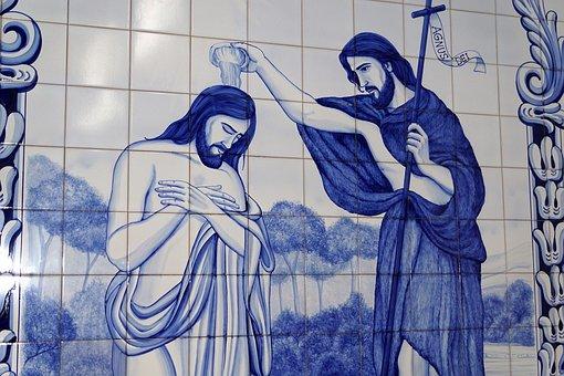 Jesus, Baptism, Tile, Painting, Ponta Delgada, Church