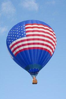 Hot Air Balloon, American Flag, America, Blue, Flag