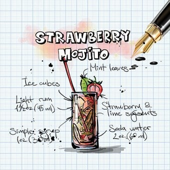 Strawberry Mojito, Cocktail, Drink, Alcohol, Recipe