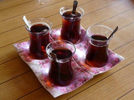 Tee, Turkish Tea, Drink, Glass, Spoon, Napkin