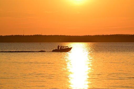 Boat, Näsijärvi, Tampere, Summer, Lake, Finnish, Sunset
