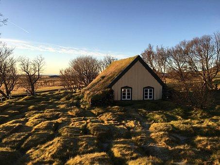 Iceland, Church, House, Moss, Chapel, Turf Church