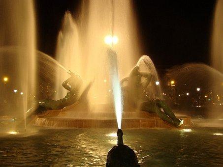 Sculpture, Memorial, Fountain, Light, Water, City