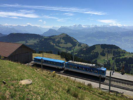 Train, Mountain, Swiss, Railway, Transportation
