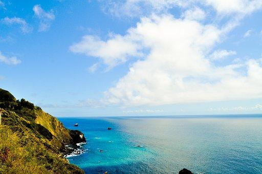 Clouds, Coast, Cal, Scenic, Ocean Wave, Ocean