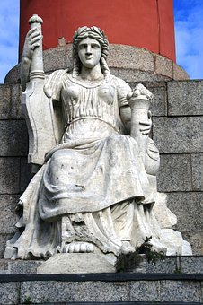 Column, Red, Rostral, Pillars, Victory, Naval, Statue