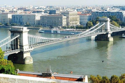Budapest, Chain Bridge, River, Water, Architecture