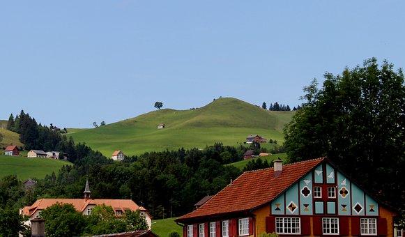 Appenzell, Landscape, Homes, Idyllic, Romantic, Hill