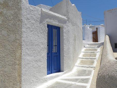 Santorini, Sea, Greece, Stairs, Home, Lime Whitewash