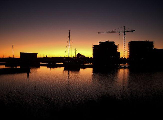 Harbor, Sunset, Urban, Seaside, Twilight, Houses