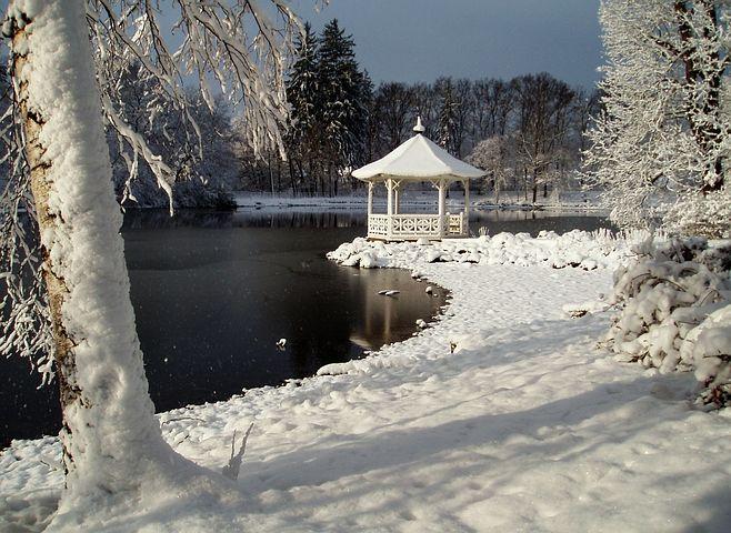 Bower, Stirin, Winter, Lake, Landscape, Pavilion