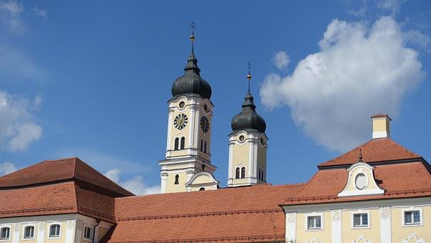 Steeple, Roggenburg, Baroque, Church, Towers