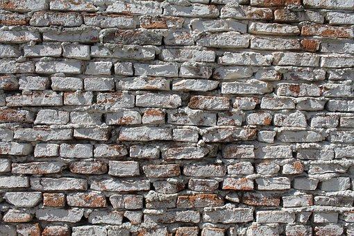 Brick Wall, Whitewash, Wall, Rough, Textured
