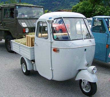 Three-wheeled Car, Car, White, Veteran