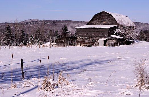 Grange, Winter, Cold, Winter Landscape, White