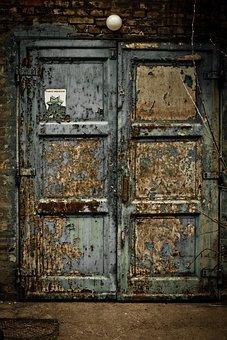 Door, Entrance, Warehouse, Old, Blue, Wood, Worn, Paint