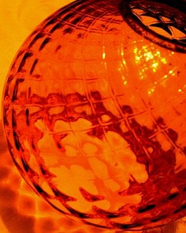 Glass, Amber, Ball-shaped, Patterned, Textured