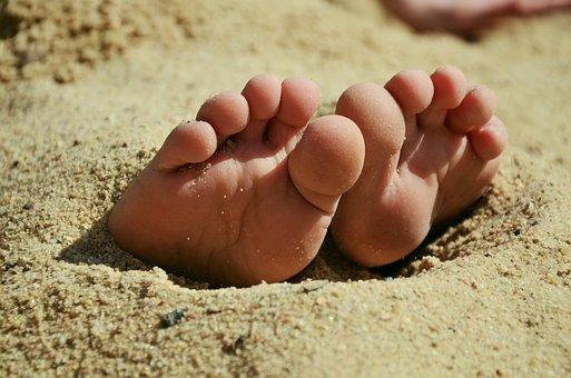 Feet, Sand, Ten, Barefoot, Beach, Summer, Sandy