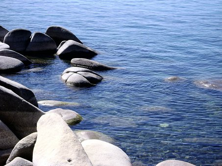 Lake Tahoe, Nevada, Shoreline, Rocky Beach, Boulders