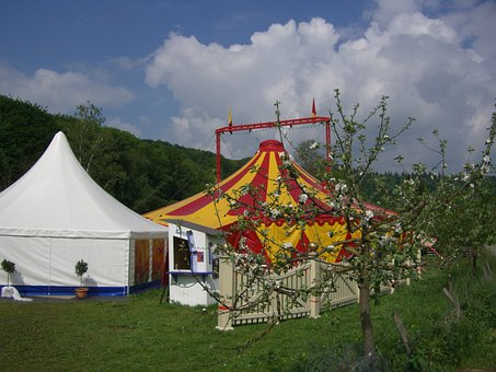 Circus Tent, Circus In The Green, Tent, Colorful
