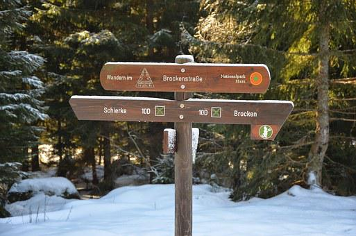Boulder, Hiking, Directory, Trail, Snow, Winter