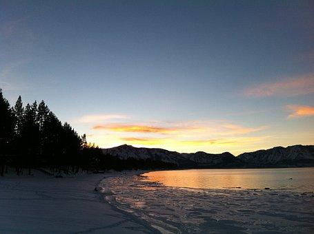 Sunset, Lake Tahoe, Evening, Water, Landscape