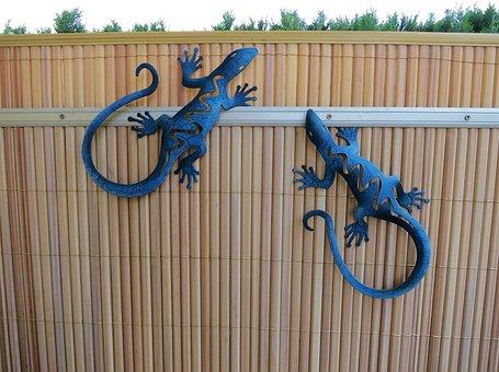 Garden Decoration, Garden Fence, Lizards, Garden