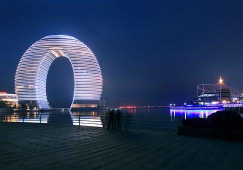 Sheraton, Huzhou, Night View, China, Building
