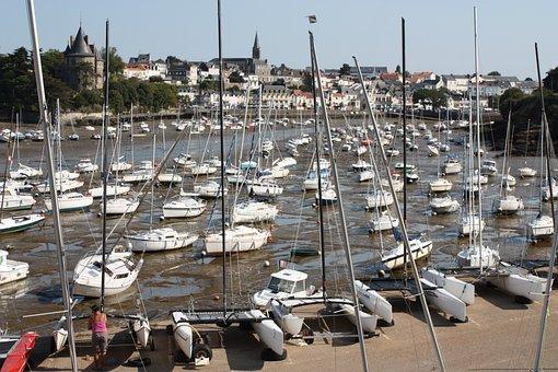 Brittany, Sea, Pornic, Fishing Boats
