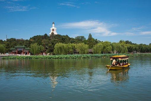 Beihai Park, Beijing, Spring, Ship, Lake