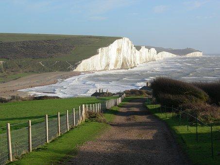 Seven Sisters, Sussex, England, White Cliffs, Coastline