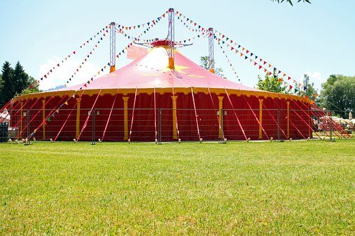 Circus, Tent, Circus Tent, Red, Meadow, Nature