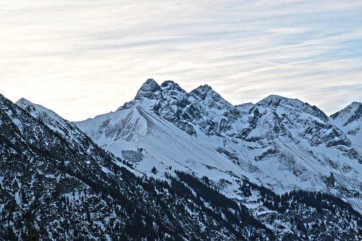 Allgäu, Mountains, Winter, Mädelegabel, Trettachspitze