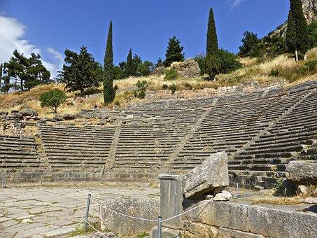 Delphi, Amphitheatre, Roman, Ruins, Ancient, Heritage