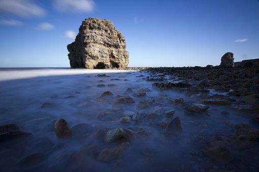 Rock, Beach, Pebbles, Sea, Water, Marsden