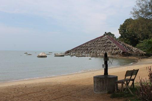 Beach, Hut, Tourism, Bidara, Melaka, Malaysia, Tropical