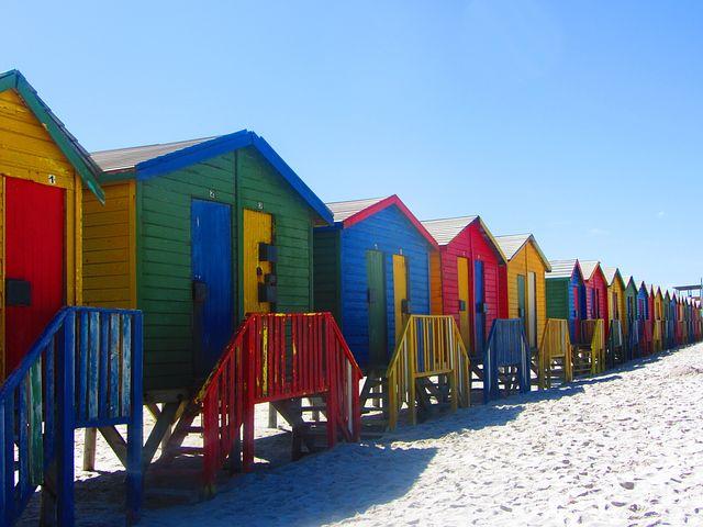 Cape Town, Beach, Huts, Colorful, Summer