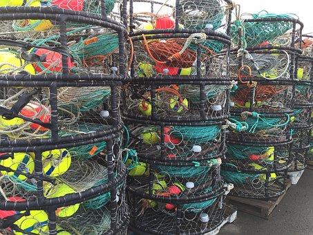 Crab Pots, Fishing, Port, Coast, Marine, Stack, Net