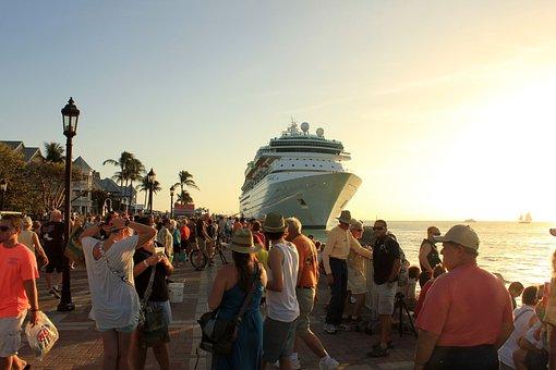 Key West, Florida, Usa, Cruise Ship, Sunset, Harbor