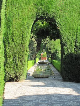 Alhambra, Fountain, Water, Garden, Hedges, Green, Hedge
