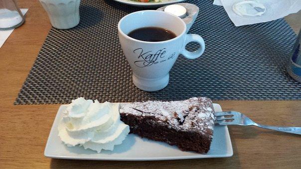Coffee Break, Kladdkaka, Cream, Coffee, Chocolate