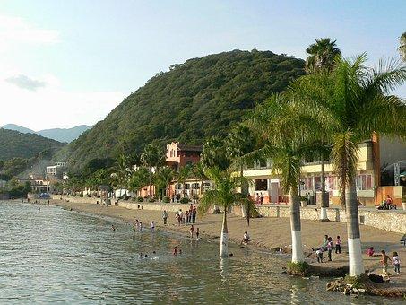 Mexico, Lake Chapala, Beach, Water, Palms, Palm Trees