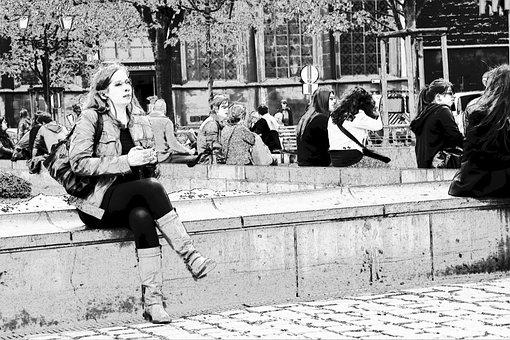Human, Place De La Cathédrale, Liege, Sit, Liège