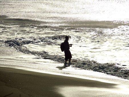 Fisherman, Beach, Surf, Sea, Water, Sunset, Silhouette