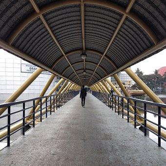 Bridge, Vanishingpoint, Walk, Silhoutte