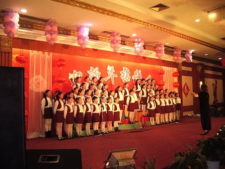 Performance, Stage, Students, Singing, Chorus, Chinese