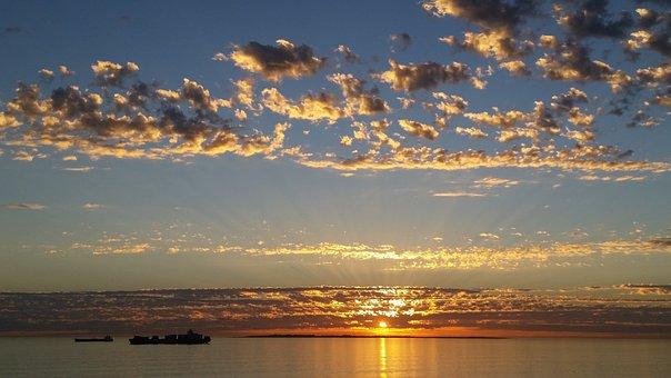 Sunset, Ocean, Sea, Sun, Sky, Clouds, Beach, Nature